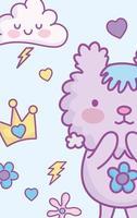 carte de personnage animal kawaii ou modèle de bannière