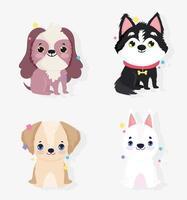 jeu d'icônes mignon petits chiens vecteur