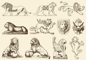 Anciens lions d'art vecteur