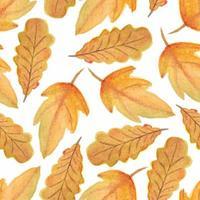 modèle sans couture aquarelle automne feuille automne