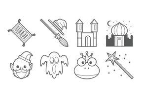 Vecteur gratuit d'icônes de contes de fées