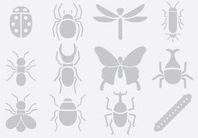 Icônes d'insectes gris vecteur