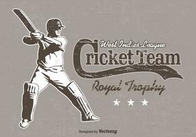 Affiche de vecteur rétro de joueur de cricket gratuit