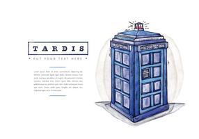 Boîte à appel gratuite de la police de Tardis Style aquarelle vecteur