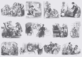 Illustrations de personnes anciennes vecteur