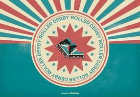 Illustration rétro roller derby vecteur