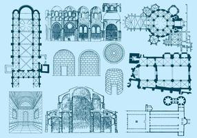 Ancien plan d'architecture et illustrations vecteur
