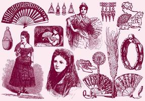 Femmes et accessoires espagnols vecteur