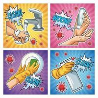 méthodes de prévention covid 19 icônes de pandémies dans un style pop art vecteur