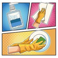 méthodes de prévention covid 19 dans un style pop art vecteur