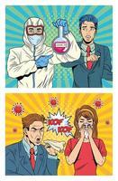 personnes avec 19 personnages pandémiques covid dans un style pop art vecteur