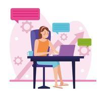 femme d & # 39; affaires en réunion en ligne à la maison vecteur