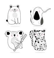 un pack de petits animaux sauvages de style croquis