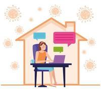femme d & # 39; affaires en réunion en ligne vecteur