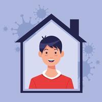 jeune homme à l'intérieur de la maison avec des particules de covid 19