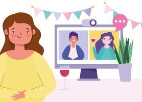 un groupe d'amis se réunissant en ligne à l'aide de la webcam