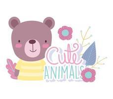 dessin animé ours avec fleurs et lettrage