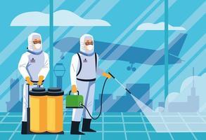 les travailleurs de la biosécurité désinfectent l'aéroport pour le covid 19 vecteur