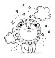 petit lion avec des nuages de style croquis