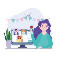 femme sur une fête en ligne et célébration par appel vidéo