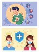 personnes malades utilisant des masques de protection contre le coronavirus