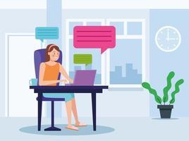 femme d & # 39; affaires en réunion en ligne au bureau à domicile vecteur