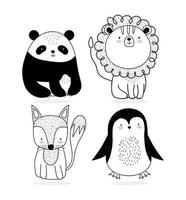 collection de petits animaux sauvages style croquis