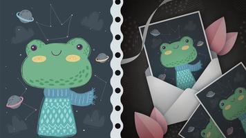 jolie carte de voeux grenouille