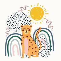 dessin à la main contemporain de léopard avec des serpents et des formes abstraites