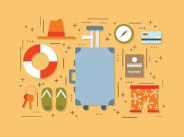 Vecteur d'éléments de voyage d'été plat