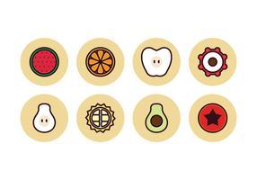 Icônes de fruits de couleur linéaire gratuits vecteur