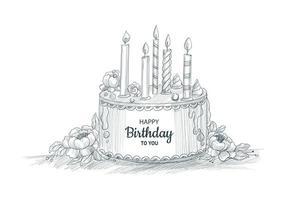 joyeux anniversaire gâteau décoratif avec conception de croquis de bougies