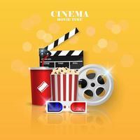 Objets de cinéma sur fond jaune vecteur