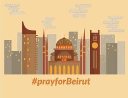 prier pour la conception d'illustration de point de repère de beyrouth