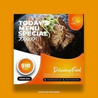 bannière de nourriture de restaurant créatif pour les médias sociaux