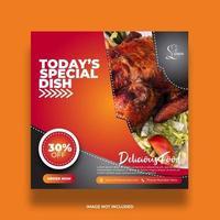 bannière créative moderne pour la publication de nourriture sur les médias sociaux en orange