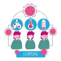 garçon avec des icônes infographiques de symptômes viraux