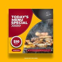 bannière de restaurant de cuisine jaune minimale créative pour publication sur les médias sociaux