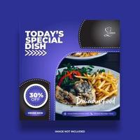bannière de médias sociaux de nourriture bleue minimale colorée