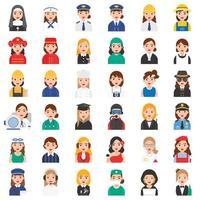 jeu d'icônes de profession féminine vecteur