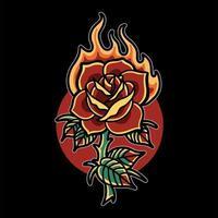tatouage rose brûlant vecteur