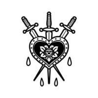coeur avec tatouage d'épées vecteur