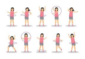 Libère une fille avec un vecteur hula hoop