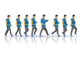 Vecteur libre du cycle de marche des garçons adolescents