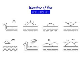 jeu de symboles icône ligne météo mer