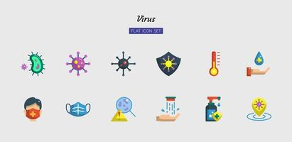 jeu d'icônes de symbole de virus plat