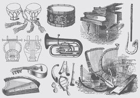 Instruments de musique vintage vecteur