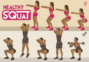 Vecteurs de squat sains vecteur