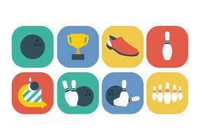 Ensemble d'icônes de bowling gratuit vecteur