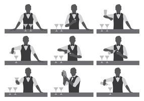 Silhouettes de vecteur barman